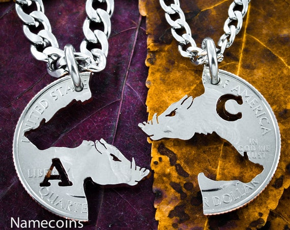 Customized Hog Necklaces, Interlocking Initials Set on any state quarter, Wild boar, cut coin