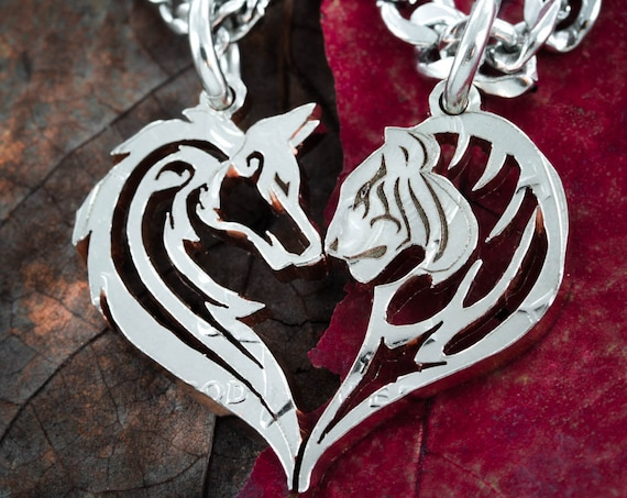 Wolf and Tiger Couples Necklaces Making a Heart, Relationship Tribal Jewelry, Hand Cut Coin