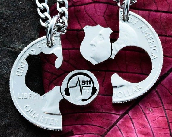 911 Dispatcher and Police Badge Necklaces, Law Enforcement Gift, BFF or Couples Protect and Serve Jewelry, Hand Cut Coin
