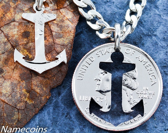 Anchor Jewelry, BFF Necklaces, Inside and outside pieces relationship necklace hand cut coin