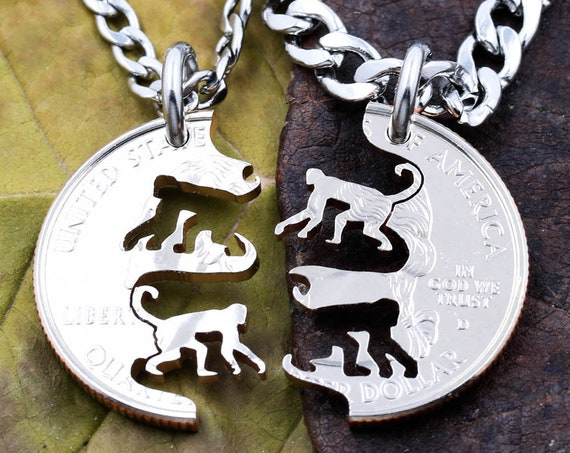 Monkey BFF Necklaces, Couples or Friendship Chimp Jewelry, Chimpanzee Handmade Coin Charm, Relationship Pendant
