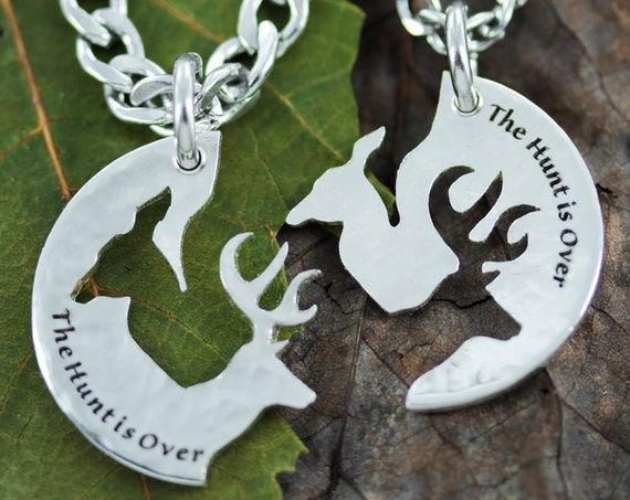 Silver The Hunt is Over Couples Buck and Doe Necklaces, Bespoke Hammered Silver