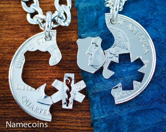 Police and Medical Necklaces, Badge and Star of Life, Couples Jewelry, His and Her, Interlocking Hand Cut Coin
