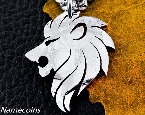 Lion Necklace, Roaring Lion, Man Gift, Boyfriend Jewelry, Big cat jewelry, Hand cut from a Coin