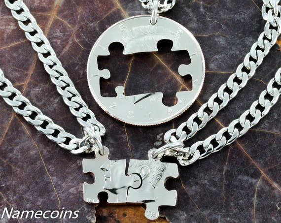 3 Best Friend or Family Necklace, Puzzle Pieces Cut on a Half Dollar