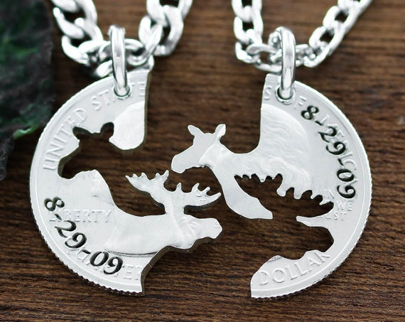 Moose Couples necklaces, His and Her Anniversary Date matching Jewelry, Hand cut coin