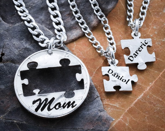 Mom necklaces with kids names, 3 name Necklaces, Puzzle Piece Jewelry, Mother's Gift, Personalized Names, Custom engraved, Hand Cut Coin