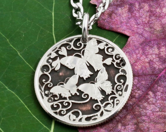Engraved Butterflies on a Coin, Insects, Etched Designs, Women's and Girl's Gift Jewelry