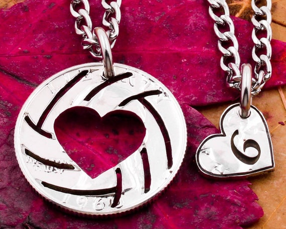 Volleyball Necklace with Heart Cut Out, Engraved Stitches and Jersey Number, Athletic Sports Gift, BFF High School Team, Hand Cut Coin