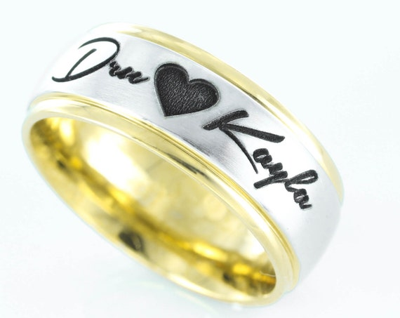 Custom Names and Heart Ring, Gold Colored edges,  wedding, anniversary, or relationship gift.  7mm Stainless Steel Ring