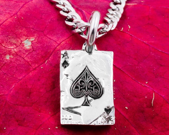 Ace of Spades, Custom Engraved Initials on Back, Playing Card Necklace, Engraved Spade Design, Hand Cut Coin