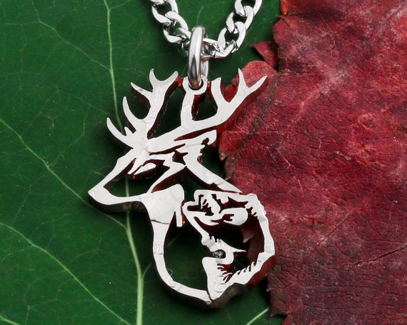 Buck and Bass Fish Necklace, Hunting Jewelry for Men, Antlers and Scales, Animals, Handcrafted, Hand Cut Coin