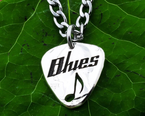 Guitar Pick Necklace, Custom Engraved Name Over Music Note, Hand Cut and Burnished US Coin