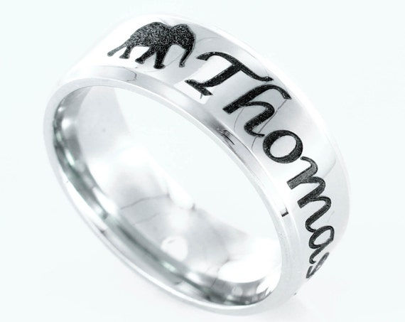 Elephant ring, with custom name engraved, Stainless Steel, Personalized comfort fit 7mm ring