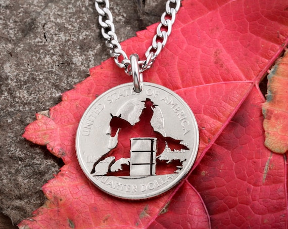 Barrel Racer Pendant, Western Jewelry, hand cut coin