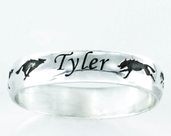Silver Wolf Name ring, Running wolves with custom name, Personalized engraved 5mm ring