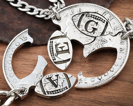 3 Personalized Football Necklaces Or Keychains, Custom Initials or Jersey Numbers, Three Best Friends Jewelry, Interlocking Hand Cut Coin