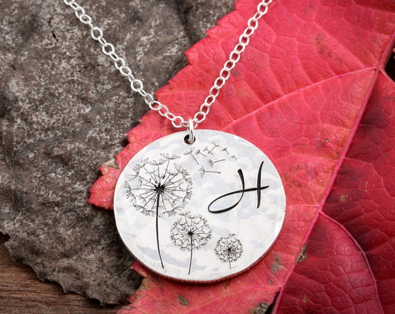 Silver Dandelion Necklace, custom initial, Blowing in the wind, Engraved Hammered Silver Dime