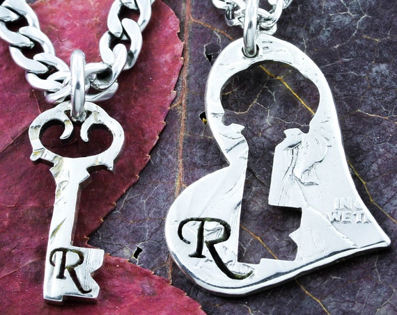 Key to My Heart Initial Necklaces, Couples His and Her Jewelry, Inside and Outside Pieces, Hand Cut Coin
