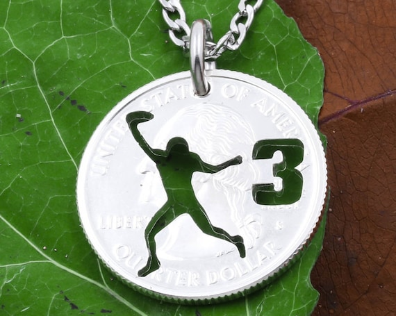 Football Player Silhouette Necklace, Custom Cut Jersey Number, Quarterback Running, Hand Cut Coin