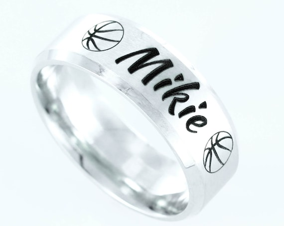 Basketball Name ring, custom engraved, Stainless Steel, Personalized comfort fit 7mm ring