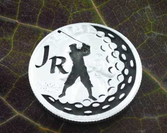 Custom Initials Golf Ball Marker, Letters Engraved, Cool Golf Gift, Etched Quarter