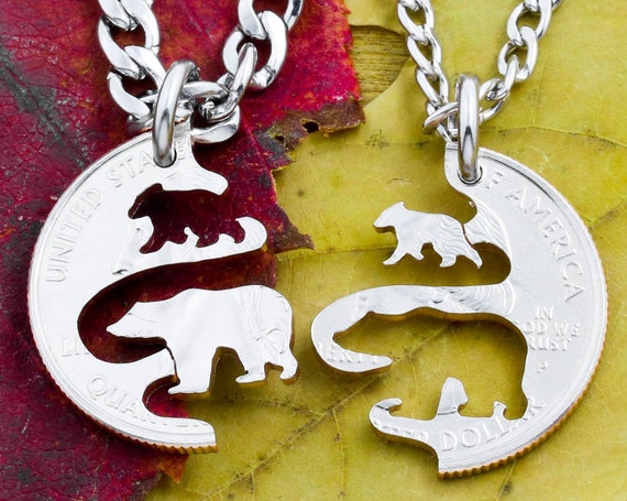 Grizzly Baby Bear and Mama or Papa Bear Necklaces, Family Animal Jewelry, Great Outdoors, Interlocking Hand Cut Coin