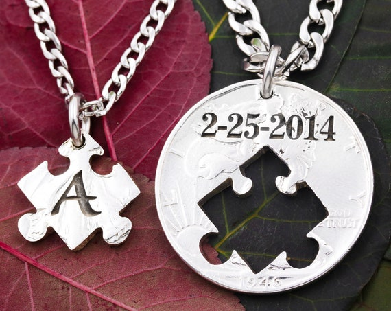 Custom Puzzle Piece Jewelry, Matching Puzzle Necklaces, Engraved Initial and Significant Date, Hand Cut Coin