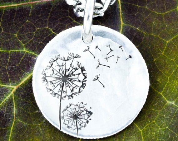 Silver Dandelion Necklace Blowing in the wind, Engraved Hammered Silver Dime