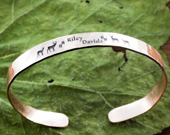 Hammered Copper Cuff  With Custom Engraving, Name and deer family gift, Bracelet Cuff, 6mm wide