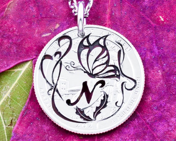Engraved Butterfly Necklace, Artistic Facial Design, Hand Cut Custom Initial, Etched Coin