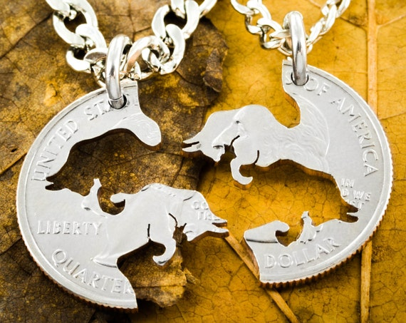 Charging Bull Necklaces, Best Friends or couples Jewelry, BFF Gift for 2, Interlocking pieces, Hand Cut Coin