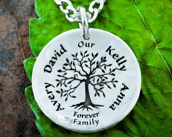 Silver Family Tree Necklace with 4 Custom Names Engraved, Hammered Silver Coin