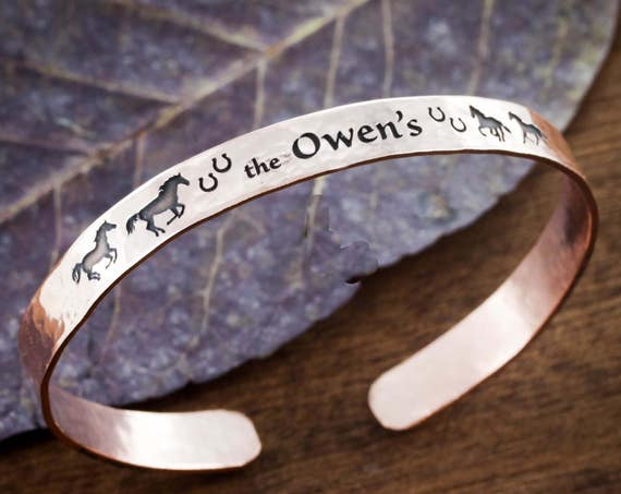 Hammered Horse Copper Cuff, With Name, Horseshoes, and Running Horses, Bracelet Cuff, 6mm Wide