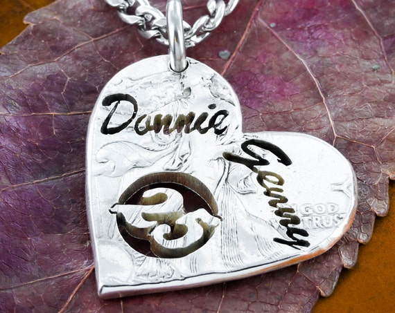 Silver 25 Year Anniversary Necklace, Custom Name and Dates, Heart Gift, Romantic Gift, Any year available, 5, 10, 15, 20, Hand cut Coin