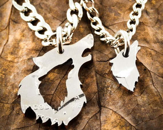 His and her Wolf Necklaces, Couples Relationship Jewelry, BFF Gift, Half Dollar, hand cut coin