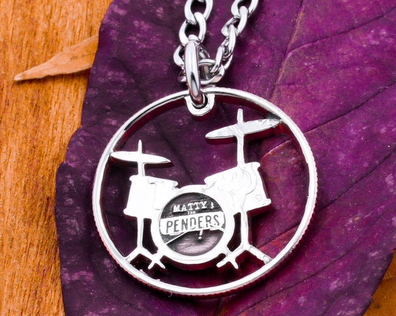 Drum Set Necklace with Custom Band Name Engraved, Drummer Gifts, Musician Band Jewelry, Hand Cut Coin