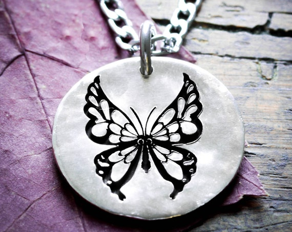 Silver Butterfly Necklace, Small Silver Jewelry, Hammered disk, Engraved Jewelry