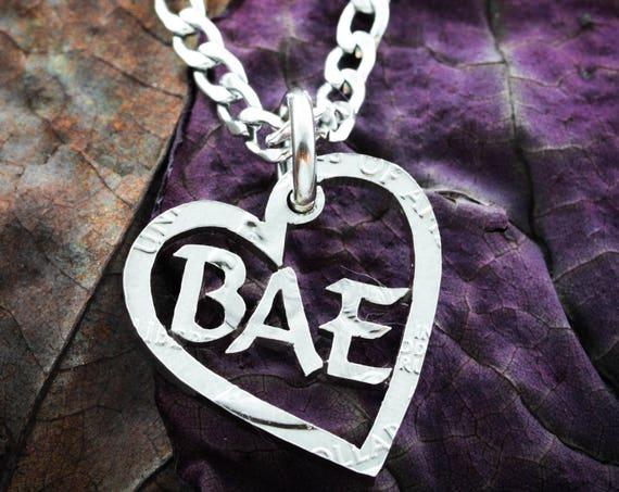 Bae Heart Necklace, Hand Cut Coin