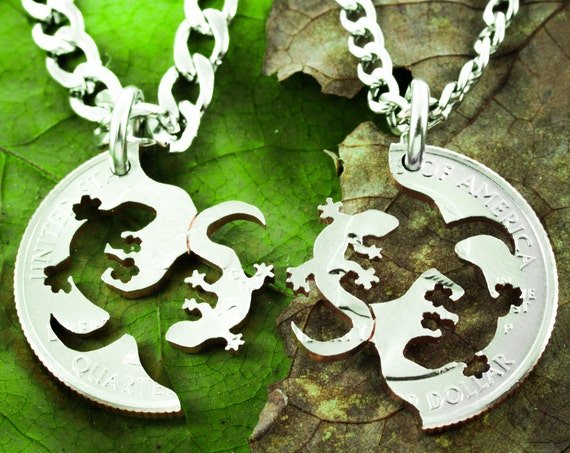 Lizard Best Friend Necklaces, BFF Gifts for 2, Fits Together like a puzzle, hand cut coin