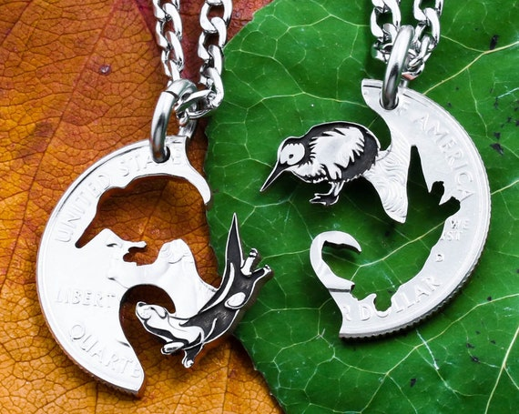 Otter and Kiwi Bird Couples or BFF Necklaces, New Zealand Bird, Playful Creatures, Interlocking Engraved Animal Jewelry, Hand Cut Coin