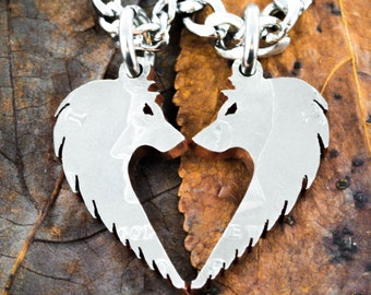 Wolf Necklaces for Couples, Wolves Making Heart, Relationship Jewelry, BFF and Couples Gifts, Half Dollar, Hand Cut Coin