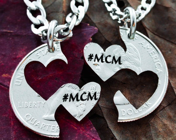 Custom Initials Engraved in Heart Necklaces, Couples Jewelry, MCM, Man Crush Monday, Hand Cut Coin
