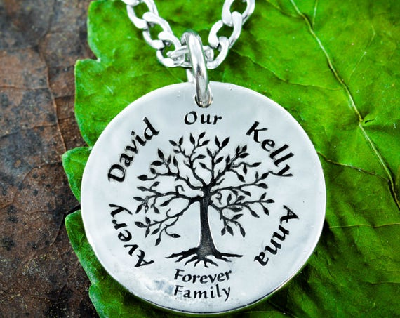 Silver Family Tree Necklace with custom names engraved, hammered silver