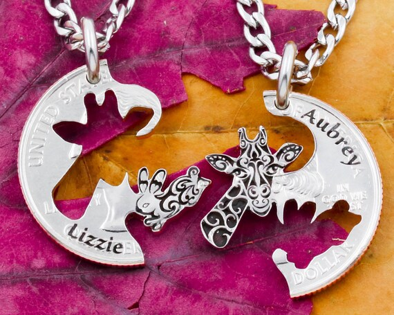 Engraved Giraffe and Bunny Rabbit Necklaces with Custom Names, Animal Jewelry, Best Friend or Couples Gifts, Hand Cut Coin
