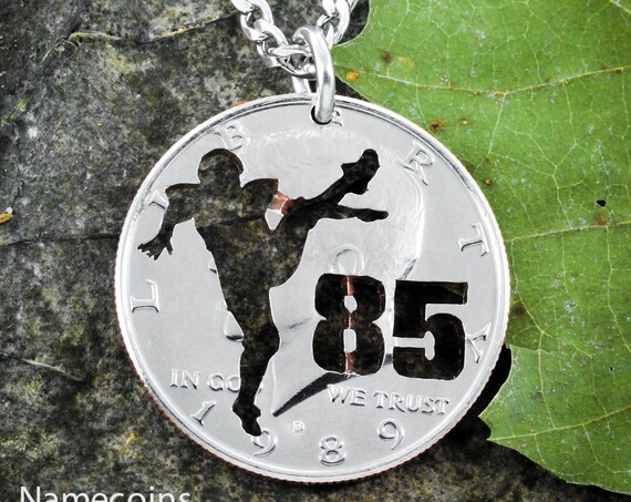 Football Kicker Player necklace with Jersey Number, custom sports jewelry, hand cut coin