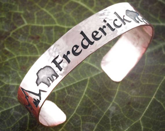 Hammered Copper Cuff With Name, Bear, and Mountain engraved, Bracelet Cuff, .6 inch width