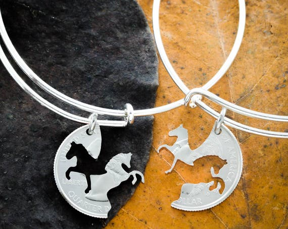 Horse BFF Bracelets for 2, Best Friends Charm Bangles, Prancing and Rearing, Interlocking Like a Puzzle