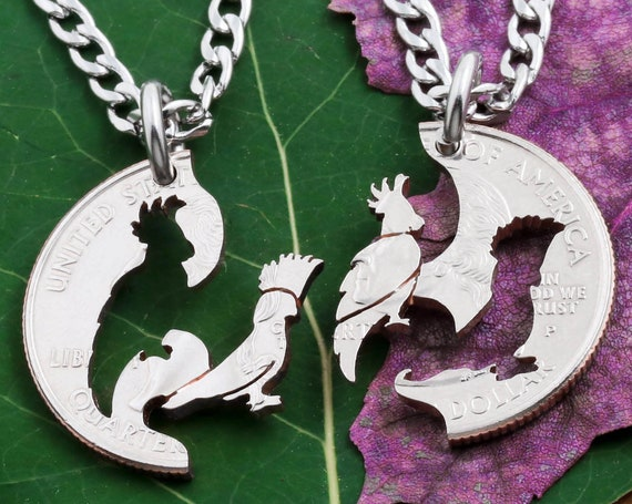 Cockatoos Couples Necklace Set, Bird Jewelry, Pretty Parrots, Relationship BFF Gift, Interlocking Hand Cut Coin