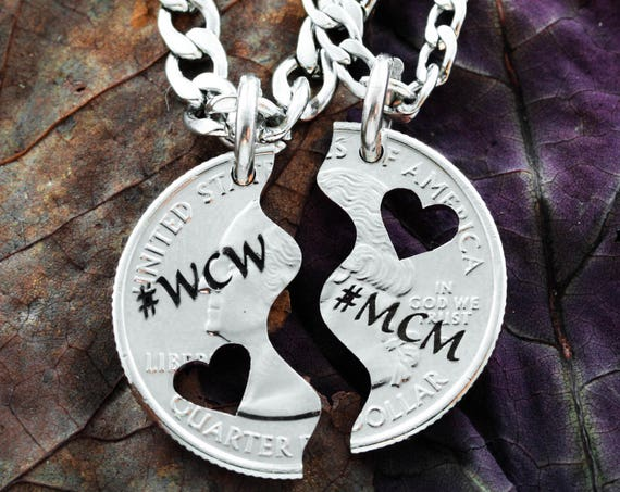 MCM and WCM Heart Couples Necklaces, Half and Half, Hand Cut and Custom Engraved